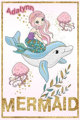 Adalynn Mermaid: Wide Ruled Composition Book Diary Lined Journal - Swimmer, Lacy