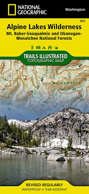 Alpine Lakes Wilderness, Mount Baker/Snoqualmie & Okanogan-Wenatchee National Forests. Trails Illust - National Geographic Maps