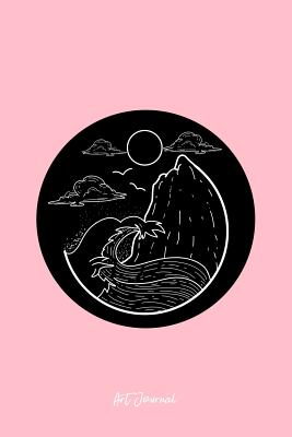 Art Journal: Lined Journal - Minimalist Wave Retro Beach Surfing Vacation Surfer Gift - Pink Ruled Diary, Prayer, Gratitude, Writing, Travel, Notebook For Men Women - 6x9 120 pages - Ivory Paper - Art Journals, Boredkoalas