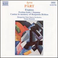Arvo Pärt: Fratres - Agnes Fodor (cello); Antal Eisrich (percussion); Antal Szuromi (horn); Bela Horvath (oboe); Bela Melis (cello);...