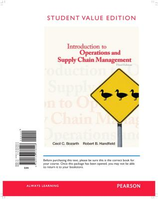Introduction to Operations and Supply Chain Management, Student Value Edition - Bozarth, Cecil B, and Handfield, Robert B