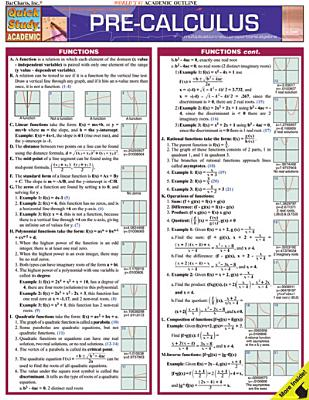 Pre-Calculus Laminated Reference Guide - Barcharts