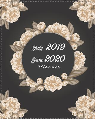 July 2019-June 2020 Planner: Black Cover Floral, 12 Months July-June Calendar, Daily Weekly Monthly Planner 8 x 10 - Stallworth, Joni