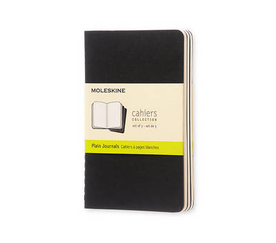 Moleskine Plain Cahier Journal Black Pocket: Set of 3 Plain Journals - Moleskine