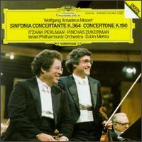 Mozart: Sinfonia Concertante - Chaim Jouval (oboe); Itzhak Perlman (violin); Marcel Bergman (cello); Pinchas Zukerman (violin);...