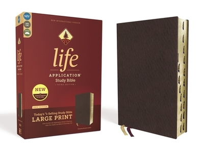 Niv, Life Application Study Bible, Third Edition, Large Print, Bonded Leather, Burgundy, Indexed, Red Letter Edition - Zondervan