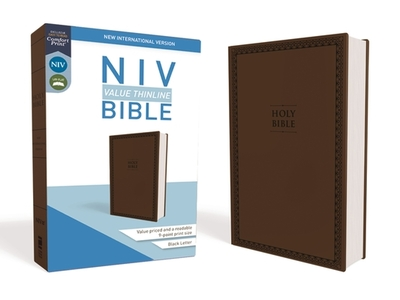 NIV, Value Thinline Bible, Imitation Leather, Brown - Zondervan