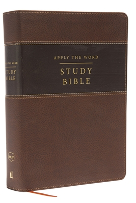 NKJV, Apply the Word Study Bible, Large Print, Imitation Leather, Brown, Indexed, Red Letter Edition: Live in His Steps - Thomas Nelson