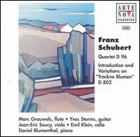 """Schubert: Quartet D96/Introduction & Variations on """"Trockne Blumen"""" D802 - Daniel Blumenthal (piano); Emil Klein (cello); Jean-Eric Soucy (viola); Marc Grauwels (flute); Yves Storms (guitar)"""