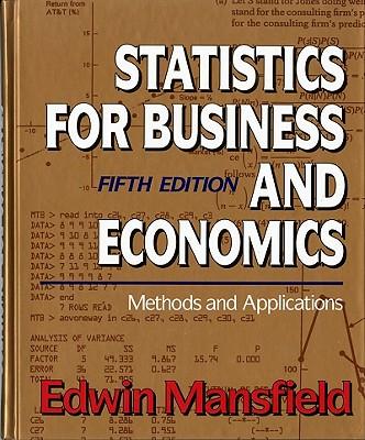 Statistics Business Economics - Mansfield, Edwin