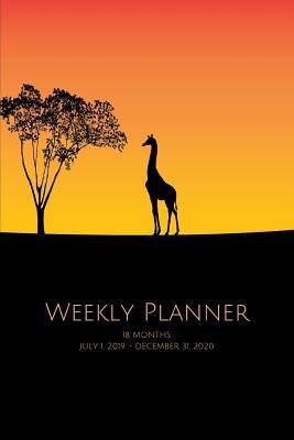 Weekly Planner: Giraffe silhouette; 18 months; July 1, 2019 - December 31, 2020 - Atkins Avenue Books